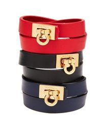 Ferragamo Black Leather Gancini Double Wrap Bracelet