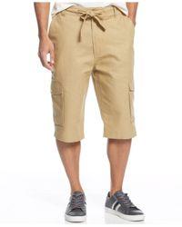 Sean John Brown Big & Tall Linen-blend Cargo Shorts for men