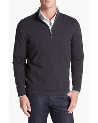 Tommy Bahama | Black 'Island Luxe' Original Fit Cotton & Cashmere Half Zip Sweater for Men | Lyst