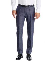 BOSS - Blue 'genesis' | Slim Fit, Virgin Wool Blend Melange Dress Pants for Men - Lyst