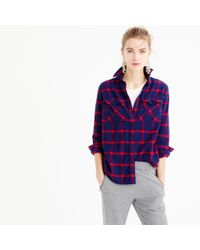 J.Crew | Blue Tall Boyfriend Shirt In Navy Rockport Plaid | Lyst