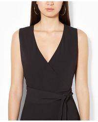 Lauren by Ralph Lauren Black Sleeveless V-Neck Belted Jumpsuit