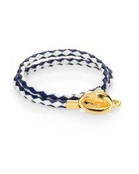 Tory Burch Blue Mikah Woven Double-Wrap Bracelet