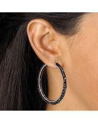 Palmbeach Jewelry - Jet Black Crystal Hoop Earrings Made With Swarovski Elements In Silvertone - Lyst