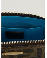 Fendi Brown Tobacco Zucca Coated Canvas And Light Blue Leather Convertible Clutch