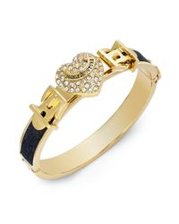 Juicy Couture - Metallic Goldtone Pave Heart Black Leather Bangle Bracelet - Lyst