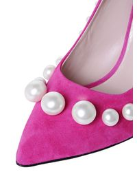 Boutique Moschino | Purple 100mm Pearl Suede Pumps | Lyst