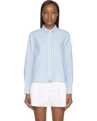 Band of Outsiders - Blue Oxford Candy Stripe Cropped Shirt - Lyst