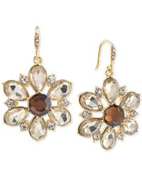 Carolee | Top Of The Rock Gold-tone Brown Crystal Flower Drop Earrings | Lyst