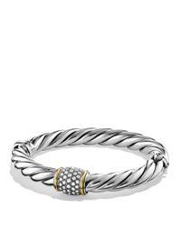 David Yurman - Metallic Metro Bracelet With Diamonds And Gold - Lyst