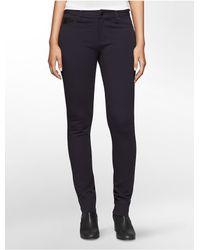 Calvin Klein - Blue Jeans Faux Leather Detail Ponte Knit 5-pocket Leggings - Lyst