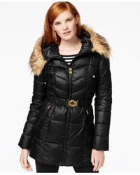 Guess | Black Faux-fur-trim Belted Puffer Coat | Lyst