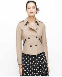 Ann Taylor Natural Petite Faux Leather Trim Trench Jacket