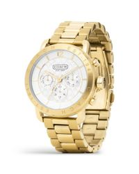 COACH Metallic Legacy Sport Gold Plated Bracelet Watch