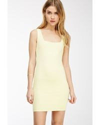 Forever 21 - Yellow Square Neck Bodycon Dress - Lyst