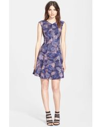 Rebecca taylor sonic garden print fit amp flare dress in