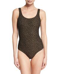 Zimmermann | Black Textured Leopard-print One-piece Swimsuit | Lyst