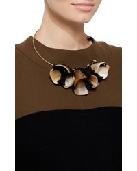 Marni   Blue Horn And Yarn Flower Necklace   Lyst