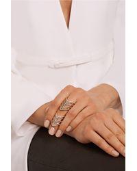 Lynn Ban - Metallic Chevron 14-Karat Gold Diamond Phalanx Ring - Lyst