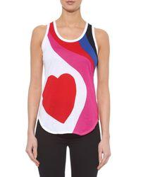 Alexander McQueen Pink Heart-Print Jersey Tank Top