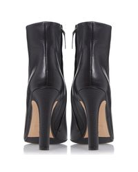 Dune Black Black Ora Leather High Heel Ankle Boots