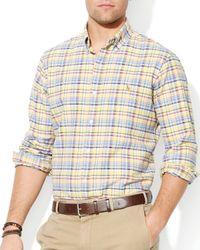 Ralph Lauren - Yellow Polo Checked Poplin Shirt – Slim Fit for Men - Lyst