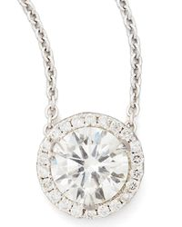 Neiman Marcus | 18K White Gold Diamond Solitaire Pendant Necklace With Pave Halo | Lyst