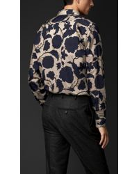 Burberry - Blue Floral Print Cotton Silk Artist Shirt for Men - Lyst