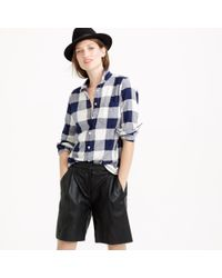 J.Crew | Blue Petite Shrunken Boy Shirt In Buffalo Check | Lyst