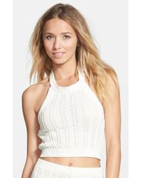Billabong - Natural 'White Sands' Halter Crop Sweater - Lyst