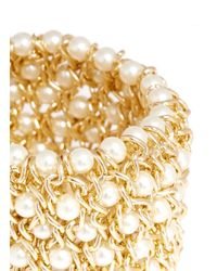 Kenneth Jay Lane Metallic Chain And Pearl Elasticated Bracelet