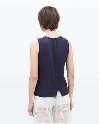 Zara | Blue Flouncy Front Top | Lyst