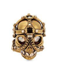 Alexander McQueen | Metallic Gold Tone Swarovski Crystal Skull Ring | Lyst