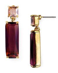 Carolee Purple Double Stone Drop Earrings