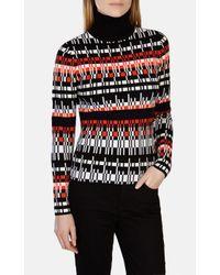 Karen Millen | Red Graphic Knit Roll-neck Jumper | Lyst