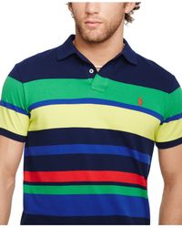 Polo Ralph Lauren - Multicolor Custom-Fit Multi-Striped Mesh Polo for Men - Lyst