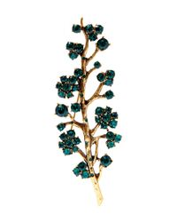 Oscar de la Renta - Green Jade Crystal Branch Brooch - Lyst