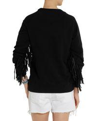 Each x Other - Black Shaman Leatherfringed Cottonjersey Sweatshirt - Lyst