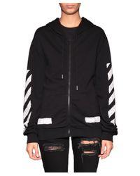 Off-White c/o Virgil Abloh - Black Cotton Hooded Sweatshirt - Lyst