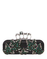 Alexander McQueen Black Embellished Satin Knuckle Box Clutch