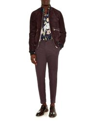 Dolce & Gabbana Purple Suede Bomber Jacket for men