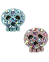 Betsey Johnson - Blue And Pink Crystal Skull Stud Earrings - Lyst