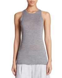 424 Fifth | Gray Sleeveless Merino Wool Roundneck Sweater | Lyst