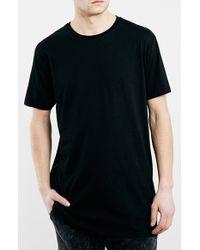 TOPMAN Black Longline T-shirt With Side Zips for men