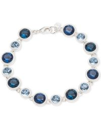 Nine West | Metallic Silver-tone Blue Crystal Bracelet | Lyst