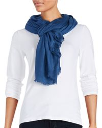 Lord & Taylor Blue Solid Pashmina Scarf