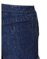 Chloé - Blue Frayed Hem Cotton Denim Shorts - Lyst