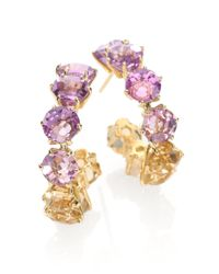 Ippolita - Metallic Amethyst Orange Citrine Ametrine 18k Yellow Gold Hoop Earrings1 - Lyst