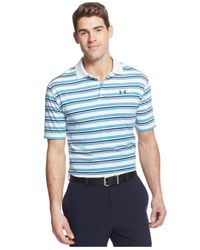 Under Armour | Blue Clubhouse Striped Golf Polo for Men | Lyst
