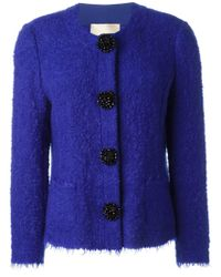 Erika Cavallini Semi Couture | Blue Sequin Floral Button Blazer | Lyst
